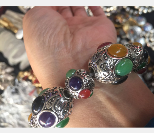 China's exquisite Tibetan silver hand-carved multicolored bracelet 3
