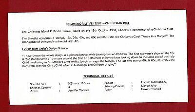 1981 Christmas Island MS Christmas SG 148/51 FDC 2