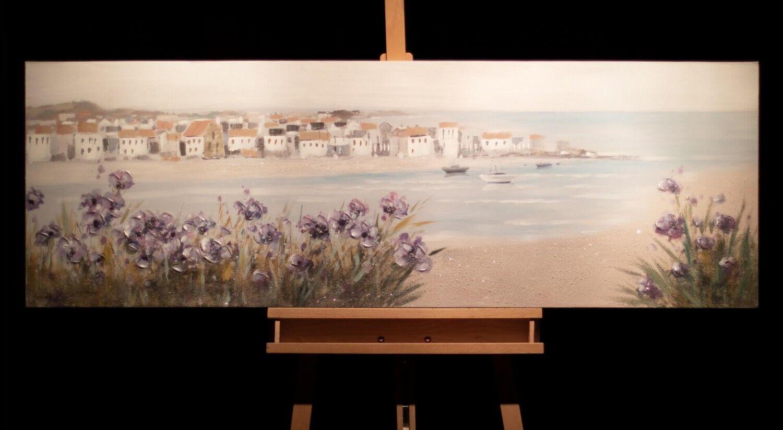 Acryl Gemälde 'MEDITERRANER TRAUM' | HANDGEMALT | Leinwand Bilder 150x50cm 6