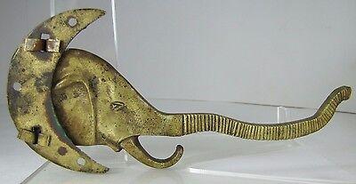 Old Figural Elephant Moon Hanger Hook Bracket swivel pivot brass bronze hardware 10