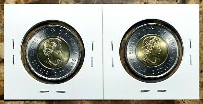 Canada 2019 D-Day Toonies Set (Coloured & Plain) From Mint Rolls!! 2