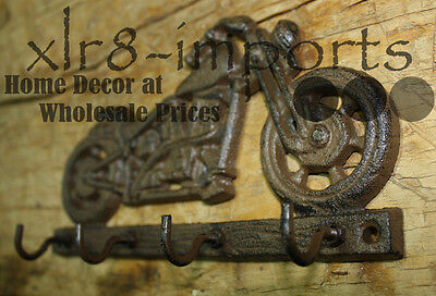 Cast Iron BICYCLE Towel Coat Hooks Hat Hook Key Rack HARLEY 2 hooks Man Cave