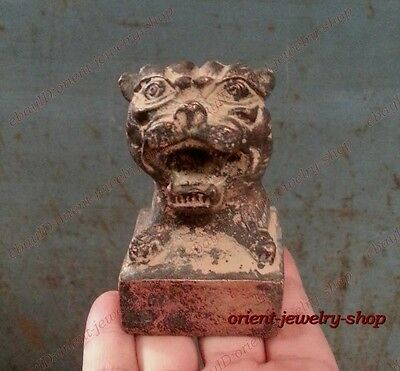 China Archaic Bronze statue Signed carvings tiger seal 4