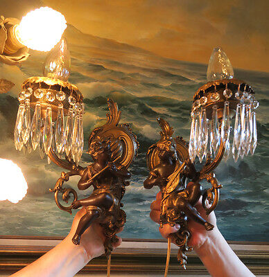 PAIR Blackamoor musical Shabby Spelter Brass sconces French lamp Vintage Antique 4