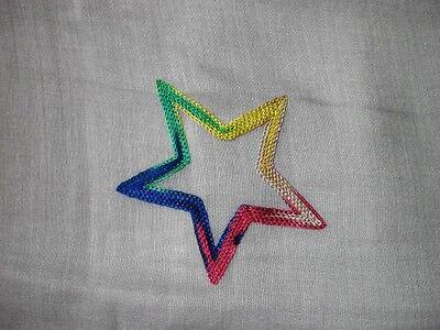 Neu Schönes Tuch Schal Stola mit bunten gestickten Sterne 180 x70cm ganzjährig