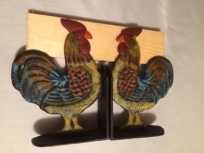 """Cast Iron Rooster Cookbook Bookends Set 8"""" tall Kitchen Decor 0170-04408 5"""