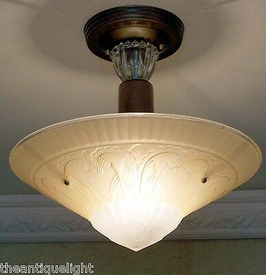 738 30s 40s Vintage Custard Glass CEILING LIGHT Lamp fixture shade custard 5