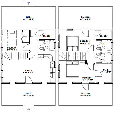 24X24 HOUSE -- 3 Bedroom 3 Bath -- 1,660 sq ft -- PDF Floor Plan on