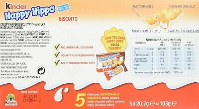 Kinder Happy Hippo Hazelnut and Cream 10 Boxes x 5 Biscuits = 50 2