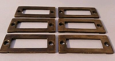 "6 antique vintage brass file cardholder label holder 2 3/16"" x 1"" #F3 8"