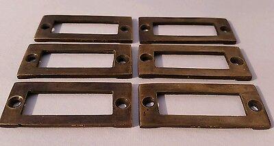 """6 antique vintage brass file cardholder label holder 2 3/16"""" x 1"""" #F3 8"""