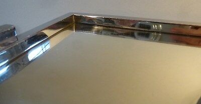 Original Art Deco Servier Tablett Metall Chrom Spiegel groß 46cm x 27cm um 1930 11