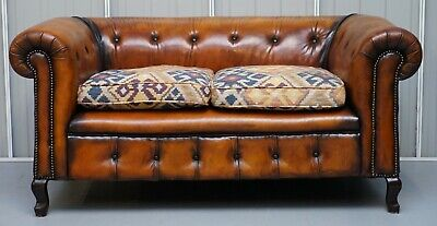 Pair Of Restored Victorian Gentleman Club Chesterfield Leather Sofas Kilim Seats 3