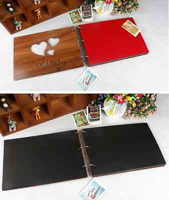 DIY 30Pg 26.9 x 26.4cm Wood Cover 3Rings Photo Album Wedding Scrapbook FULL LOVE