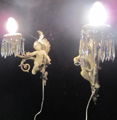 2 Antique French Cherub Spelter lamp Vintage Shabby sconce chic Paris Architectu 2