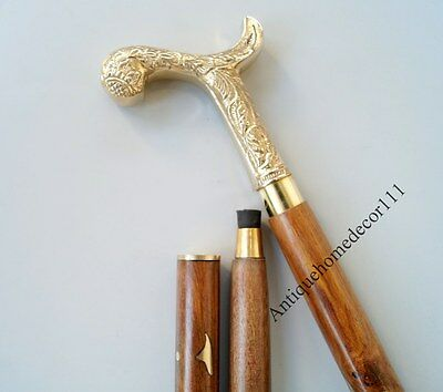 Antiqued Brass Design Eagle Head Cane Wooden Walking Stick Nautical Gift for Men