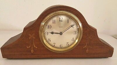 Antique Working French Victorian Inlaid Mini Mahogany Tambour Mantel Shelf Clock 8