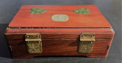 Chinese Rosewood Box with Jade Pieces on Top 11