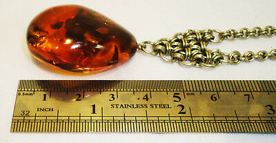 Genuine Baltic Butterscotch Amber Necklace, 28 gr. Very Beautiful Pendant! 116