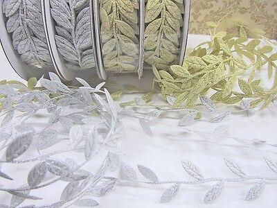 """10 yards Gold OR Silver Vine Leaves 1/"""" Garland Ribbon//Craft//Trim//Leaf//Roll R83"""