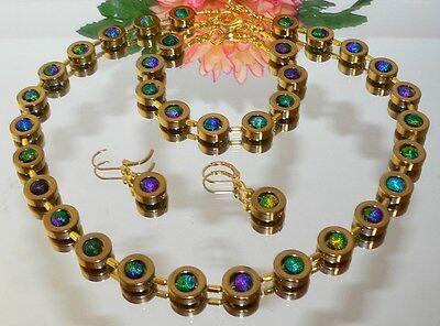 3 er SCHMUCKSET Hämatit GOLD Stardust mehrfarbig lila türkis grün glitzer 486j