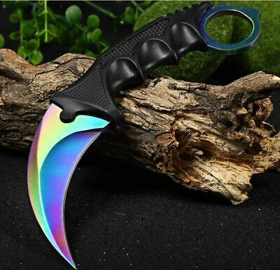 Outdoor KARAMBIT NECK KNIFE Survival Hunting Fixed fade colourful Blade + Sheath 2