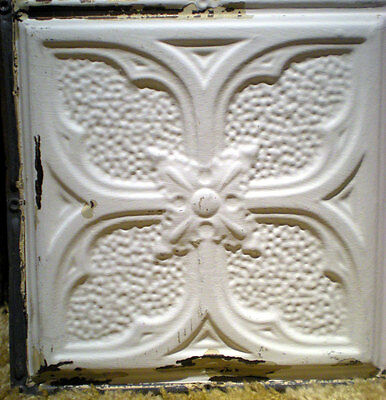 "SALE 24"" x 24"" Antique Victorian Ceiling Tin Tile Gothic Quatrefoil Flower Chic"