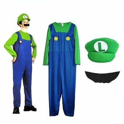 Men Adult Kids Women's Super Mario and Luigi Fancy Dress Cosplay Costume Outfit. 9