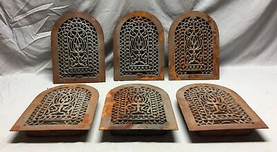 One Antique Cast Iron Arch Top Heat Grate Wall Register 8X12 Dome Vtg 24-19C 11