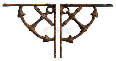 2 Rustic Cast Iron Nautical Ship Anchor Shelf Support Brackets Doorway Braces 4