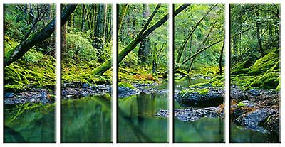 5 Piece Nature Green Tree Water Lake Canvas Wall Art Picture Print Home Decor 2