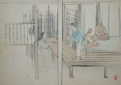 DING LAN & HIS STATUES : An Original Meiji / 1880s Japanese Woodblock Print 2