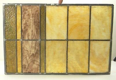 GEOMETRIC RECTANGULAR LEADED-STAINED GLASS WINDOW~Art Deco 22x15~HEAVY OBSCURITY 2