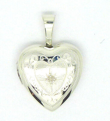 9ct Real Diamond Set Heart Shaped Locket  in Yellow Rose Red Gold White