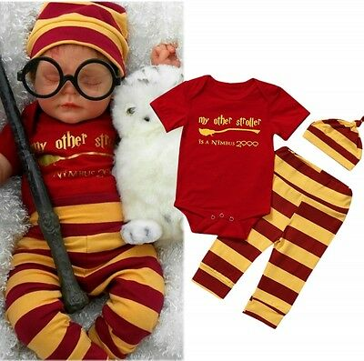 23282e3a00d3 HARRY POTTER NEWBORN Baby Girl Boy Clothes Romper+Pants+Hat Outfits ...