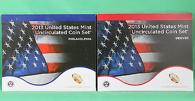 2013 ANNUAL US Mint Uncirculated Coin Set 28 P and D Minted Coins with COA 10