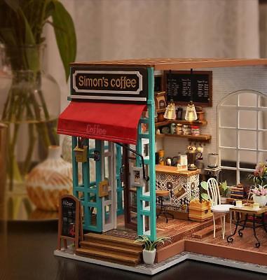 Robotime DIY Dollhouse Kit Miniature Modern Cafe with Furniture LED Gift Girls 2