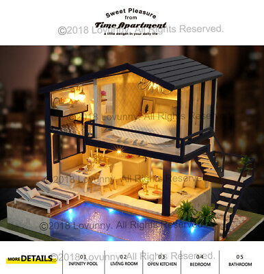 AU DIY LED Music Apartments Dollhouse Miniature Wooden Furniture Kit Doll House 5