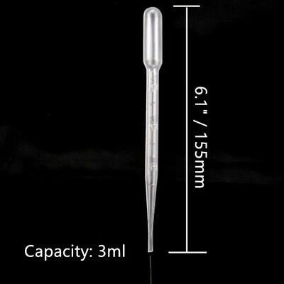 5x Plastic Dropper Bottle Disposable Pipette Clear  Lab Cosmetic Tubes 3ml 2