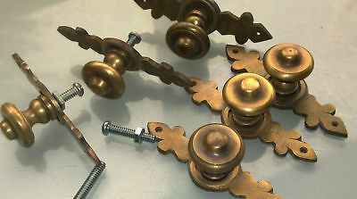 """6 pulls handle solid brass door vintage old style knobs kitchen heavy 3"""" aged B 3"""