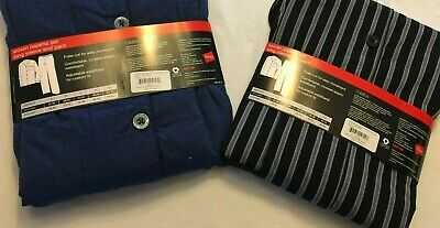 NWT Men's Hanes Woven Pant Shirt Set Pajamas PJ Cotton Blend Blue Stripe Various 2