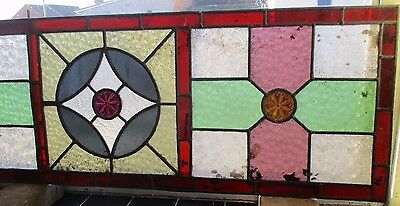 "Reclaimed Coloured leaded stained glass panels 44"" x 14 1/2"" 4"