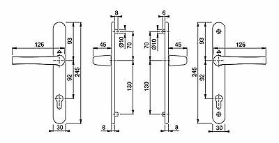 UPVC Door Handle Hoppe Roto 92mm PZ 3 Fixing Holes Pair Set Patio PVC 200mm
