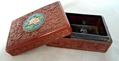 Chinese 19Th Century Qing Red Cinnabar & Enamel Box Birds & Foliage & Seal Mark 8
