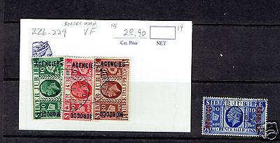 MOROCCO AGENCIES 226-229 Silver Jubilee used cds OVERPRINTED