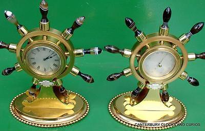 Howell James & Co Antique Ormolu Maritime Marine Navel Agate Clock Barometer 12