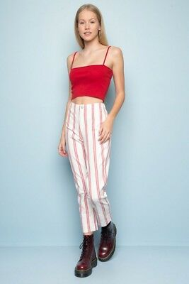 New brandy melville high rise white//red striped cotton tilden pants NWT sz S