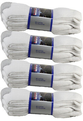 3 6 12 Pairs Mens White Sports Work Athletic Crew Socks Cotton Size 9-11 & 10-13 4