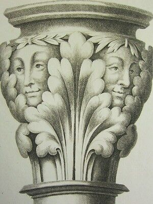 1795 Print Gothic Ornament York Minster ~ Two Heads Over A Stall Chapter-house Antiques Architectural & Garden