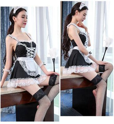 Set Costume Completo Cameriera Maid Serva Sexy Lingerie Calze a Rete Sex Pizzo 5